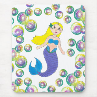 Blonde Swimming Mermaid Girl Bubbles Ocean Sea Mouse Pad