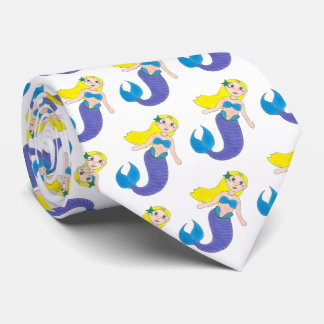 Blonde Swimming Mermaid Girl Purple Tail Ocean Sea Neck Tie
