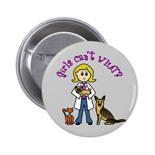 Blonde Veterinarian Girl Button