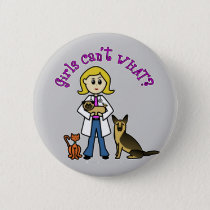 Blonde Veterinarian Girl Pinback Button