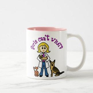 Blonde Veterinarian Girl Two-Tone Coffee Mug