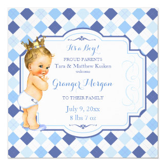 Blonde Vintage Baby Crown Little Prince Argyle Card