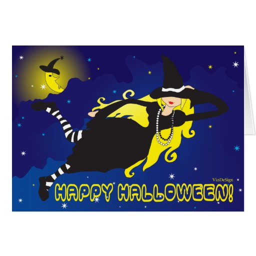blonde witch greeting card