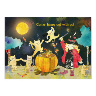 Blonde Witch's Magical Halloween Party Card