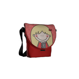 Blonde with Long Straight Hair (RED) Courier Bag