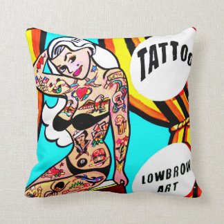 blonde with tattoos pillow