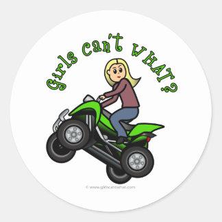 Blonde Woman ATV   Four Wheeler Driver Classic Round Sticker