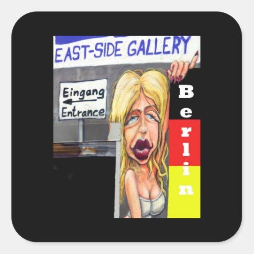 Blonde Woman, Berlin Wall, East Side Gallery (w23) Square Sticker