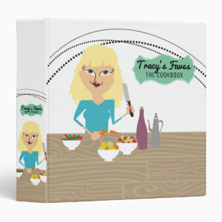 Blonde woman cooking food personal cookbook binder