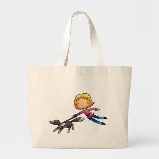 Blonde woman Dog walking Tote Bag