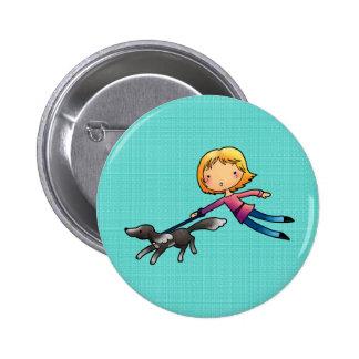 Blonde woman Dog walking Pinback Buttons