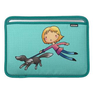 Blonde woman Dog walking Sleeve For MacBook Air