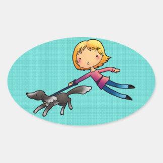 Blonde woman Dog walking Oval Sticker