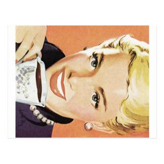 Blonde Woman Drinking Coffee Postcard
