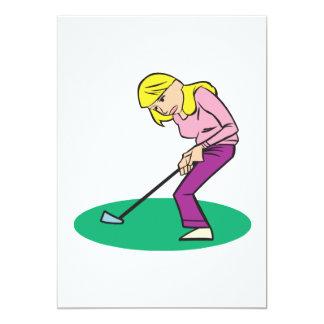 Blonde Woman Golfer 5x7 Paper Invitation Card