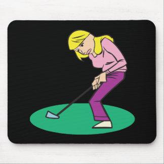 Blonde Woman Golfer Mousepads