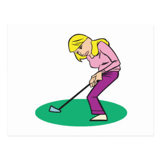 Blonde Woman Golfer Postcard