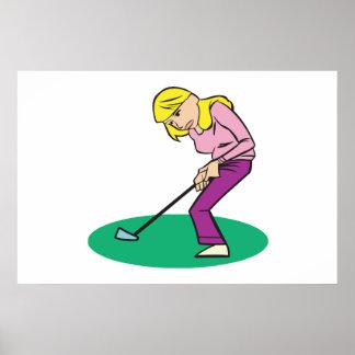 Blonde Woman Golfer Poster