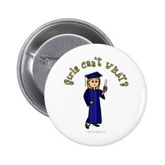 Blonde Woman Graduate in Blue Gown Pinback Button