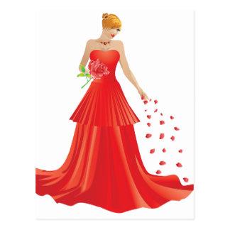 Blonde woman in red dress postcard