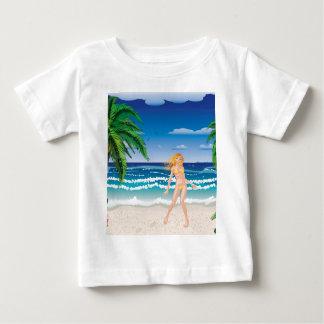 Blonde woman on beach baby T-Shirt