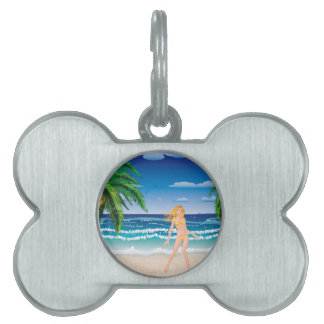 Blonde woman on beach pet name tag