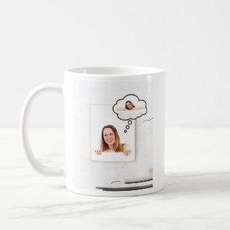 Blonde Woman on White Board Thinking About Herself Coffee Mug