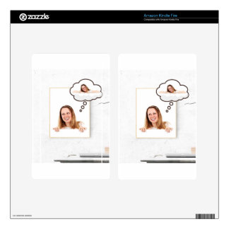 Blonde Woman Thinking on White Board Skins For Kindle Fire