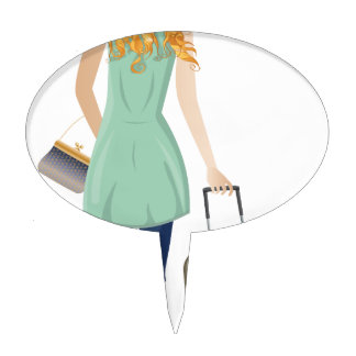 Blonde Woman with Suitcase 2 Cake Topper