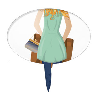 Blonde Woman with Suitcase Cake Topper