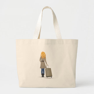 Blonde Woman with Suitcase Large Tote Bag