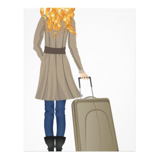 Blonde Woman with Suitcase Letterhead