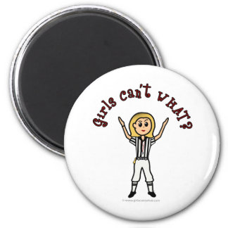 Blonde Womens Football Referee 2 Inch Round Magnet