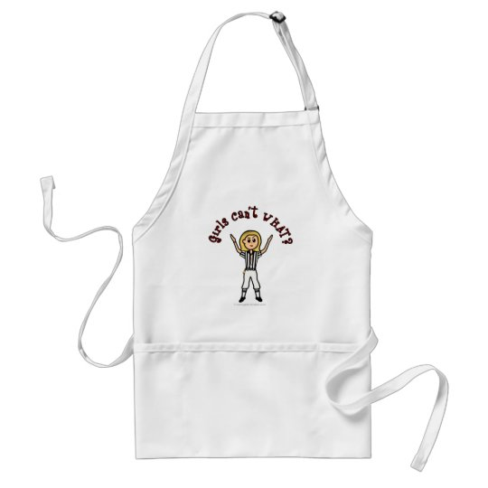 Blonde Womens Football Referee Adult Apron