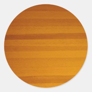 blonde wood grain pattern classic round sticker