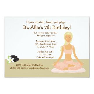 Blonde Yoga Girl Stretch & Play Birthday Party 5x7 Card