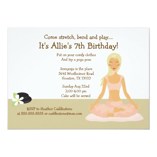 Blonde Yoga Girl Stretch & Play Birthday Party 5x7 Card