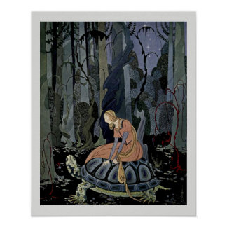 Blondine and the Tortoise  Fairytale Illustration Print