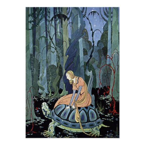 Blondine and the Turtle by Virginia Sterrett Poster