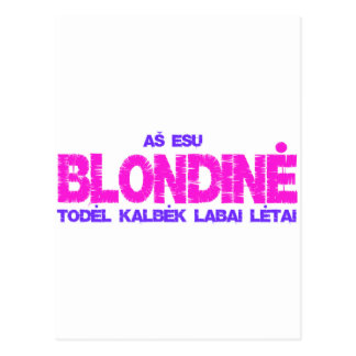 Blondine t-shirt post card