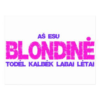 Blondine t-shirt postcard