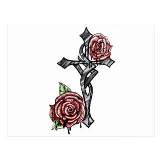 Blood and Roses Cross Postcard