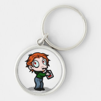 Blood Bag Vampire Silver-Colored Round Keychain