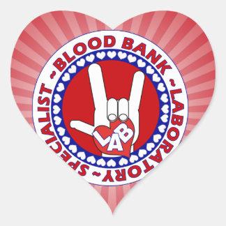 BLOOD BANK SPECIALIST LABORATORY TECH LOVE HEART STICKER
