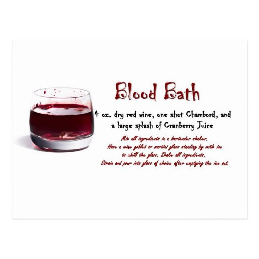 Blood Bath drink recipe Post Card
