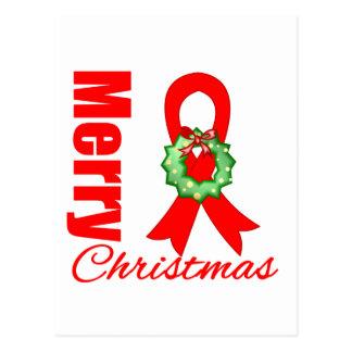 Blood Cancer Awareness Merry Christmas Ribbon Postcard
