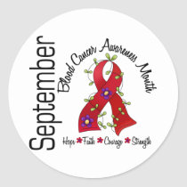 Blood Cancer Awareness Month Flower Ribbon 1 Classic Round Sticker