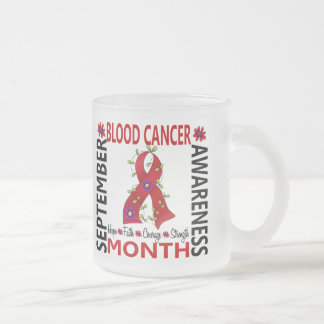 Blood Cancer Awareness Month Flower Ribbon 4 10 Oz Frosted Glass Coffee Mug