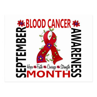 Blood Cancer Awareness Month Flower Ribbon 4 Postcard