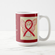 Blood Cancer Awareness Red Ribbon Angel Custom Mug